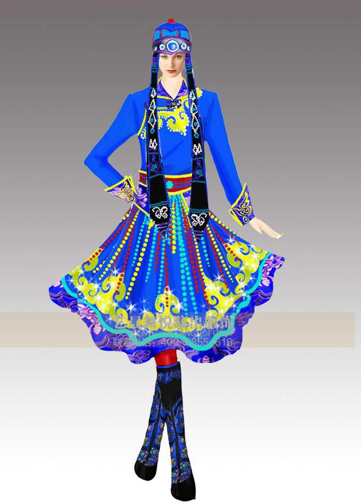 蒙古族舞蹈服饰在设计上继承了蒙古族各部落服饰的设计风格,将经典元素加以提炼和丰富,同时减去了繁琐的装饰,以最具表现舞蹈精神内涵的服饰出现在舞台上。 蒙古族舞蹈服装体现民族情怀和审美意识 蒙古族舞蹈服饰的传统风格中凝聚着蒙古人的民族情怀和审美意识,因此,充满了生命力,款式、色彩、面料、装饰等舞蹈服饰元素灿烂而新奇,始终紧扣各种表演形式的主题上展开设计,以最具表现力的舞蹈作品来分析蒙古族舞蹈服饰,使得传统艺术在当下社会得以表现,用现代人的审美眼光来打造富有传统风格的舞蹈服饰。体现了他们对生活的热爱和对美的追求
