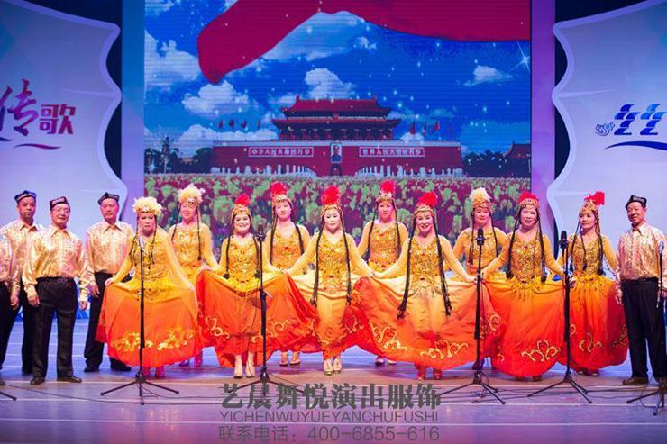 2016广东老年群众文艺展演-新疆舞蹈服装大放光彩