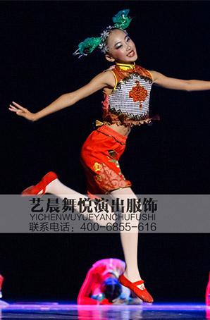 2017新款儿童小荷风采《剪窗花》表演服 女童舞蹈演出服剪纸舞蹈服