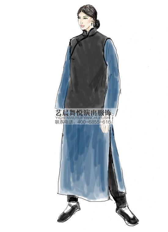 民国服装王淑芬舞台剧演出服装表演服装定做表演服定做