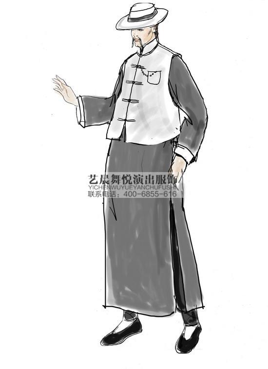 茶馆马五爷民国服装表演服定做设计表演服厂家