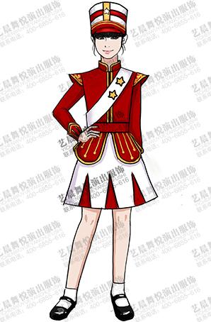 校园学生鼓乐队演出服装红白鼓手鼓乐队表演服定制