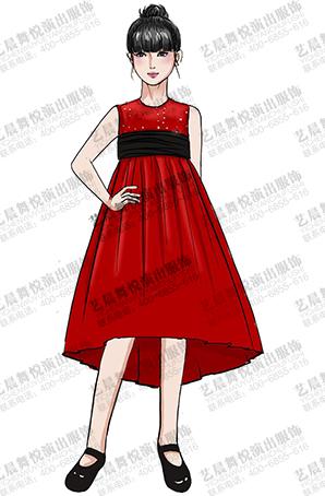 校园学生舞台表演礼服大红色舞蹈演出礼服定制设计