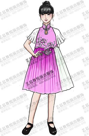 学生参赛演出礼服中式粉红色校园舞台表演服装定制