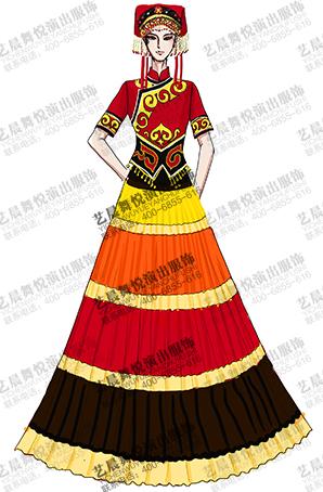 女士傣族服装民族舞台演出服装傣族长裙表演服定做