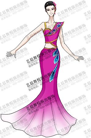 少数民族服装傣族演出服女玫红色傣族大摆裙定制