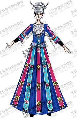 苗族民族服装女少数民族苗族舞台服装定制