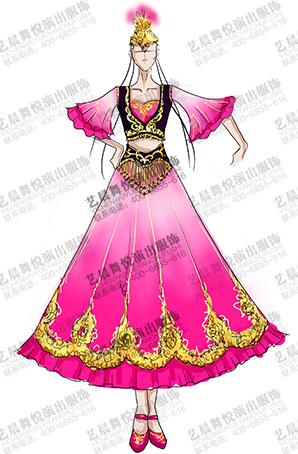 56个少数民族服装女新疆演出服装定制厂家