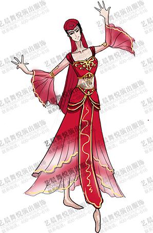 新疆舞长裙设计女民族舞蹈服装维族舞服定做
