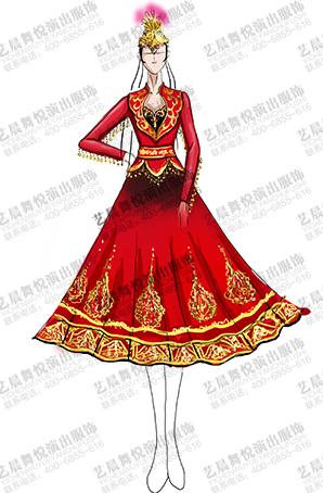 新疆服装定制女少数民族新疆演出表演服定做
