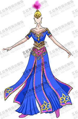 蓝色长裙新疆演出服装定做维族舞表演服装定做