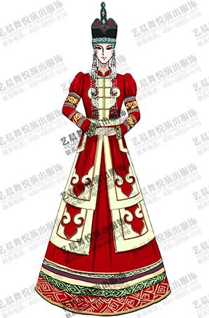 56个少数民族服装定做蒙古舞台服装长裙定制