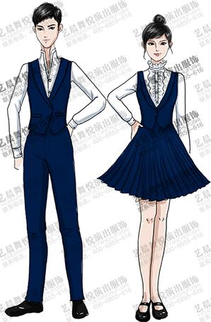 学生舞台合唱演出服设计男女舞台表演服装定制