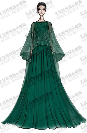 舞台晚会演出服礼服定做深绿色女舞台礼服定制