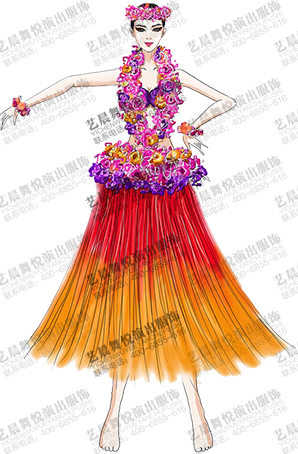草裙舞舞蹈演出服装设计舞台演出表演服定制
