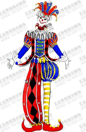 游乐园小丑舞台表演服装设计景区小丑演出服定制