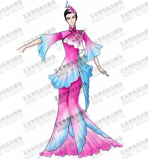 女士古典舞蹈演出服装玫瑰色长裙古典舞裙定做