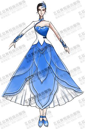 古典舞台服女蓝色古典表演服演出服装定制