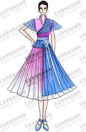 古典服装女大摆裙古典舞台演出服装设计定制