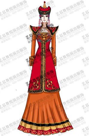 56个少数民族蒙古舞台套装女舞台服装定制