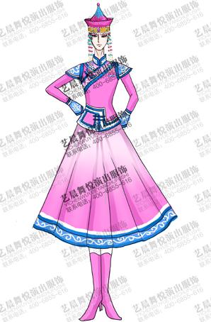 蒙古玫红色舞台服装女少数民族演出服定做厂家