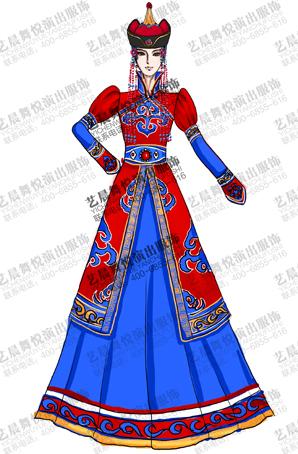 蒙古族舞蹈长裙定做女蒙古民族服装定制