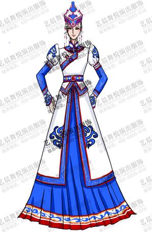 蒙古民族舞服定做女蓝色大摆裙演出服装定制