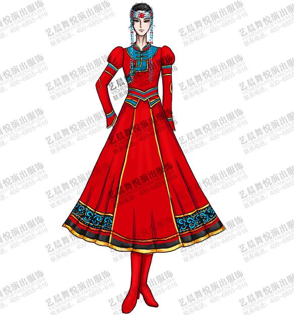蒙古民族舞台服装定做女演出服蒙古服定制
