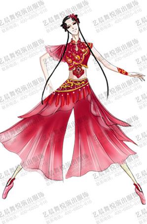 女士古典舞服装大红色女舞台服装定做厂家