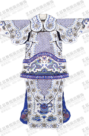 京剧戏曲男靠蓝色手工刺绣龙武生武将男大靠定制设计
