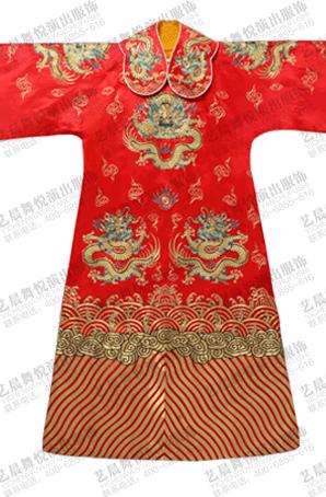 京剧红团龙蟒红色真丝大缎手绣戏曲服装戏剧老生表演蟒袍定制