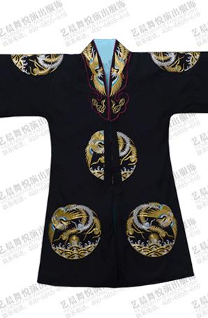 新款黑色机绣团凤女帔戏曲戏服京剧舞台表演服装皇后演出服定制