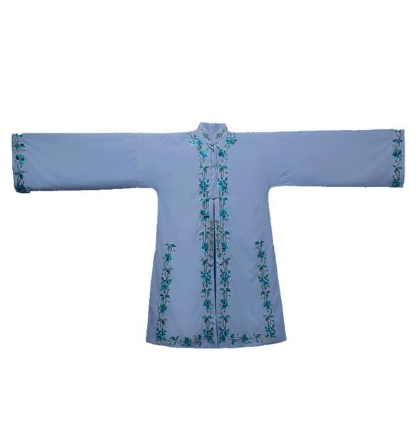 新款京剧梅花边女褶子演出服装蓝色机绣褶子花旦舞台表演戏服定制