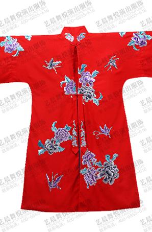 红色散花牡丹女褶子戏曲服装对襟褶子机绣真丝绉缎青衣戏服定制