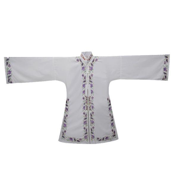 新款花边女褶子白色手工绣花褶子京剧青衣花旦表演服装定制