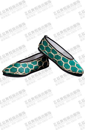 京剧戏鞋彩鞋打鞋曲艺用品舞台戏曲鞋子绿色绣花打鞋小生鞋靴