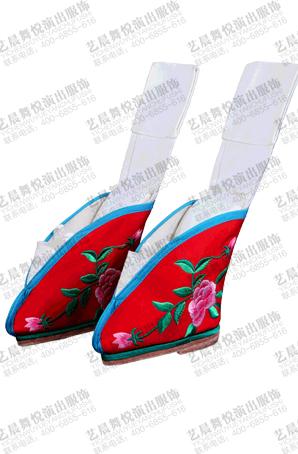 京剧舞台鞋子戏曲软跷鞋昆曲小脚鞋三寸金莲绑腿鞋旦角跷功鞋定制