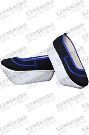 京剧老旦厚底鞋黑色豫剧老太太演出鞋老生舞台表演鞋靴定制