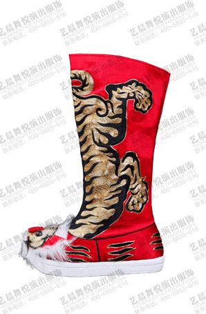 京剧戏曲虎头靴越剧武生厚底靴子武将红色靴子厚底高筒虎头靴定制