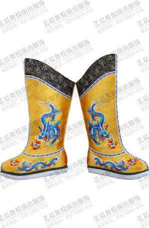 戏曲龙靴京剧皇帝靴子黄色戏曲绣龙靴高筒朝靴越剧昆曲绣龙厚底靴