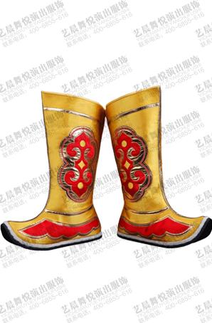 戏曲齐天大圣薄底靴黄色戏曲贴花表演靴子高筒薄底靴越剧薄底靴