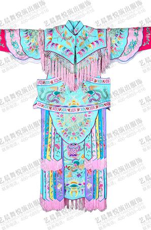 京剧演出服装戏曲舞台装绿色机绣女大靠传统戏曲女硬靠越剧表演服