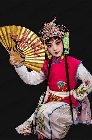 京剧卖水儿童戏曲服装袄裤裙牡丹花坎肩舞台演出服定制
