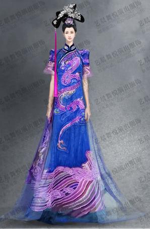 大型舞剧古代绣龙旗袍服装设计定制
