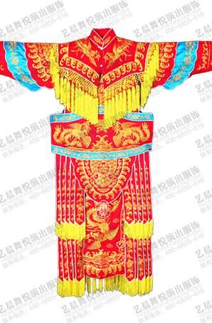 女大靠戏台表演服装红色机绣折子戏京剧舞台服装