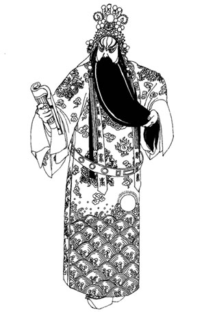 戏曲舞台服装《古城会》京剧绿团龙蟒袍定制服装手绘稿!