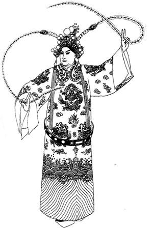 京剧《群英会》周瑜白团龙蟒戏曲演出服装京剧服装定制手绘稿!