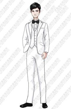 新款儿童白色西装合唱演出礼服设计定制手稿!