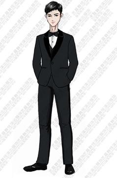 黑色演出服装校园儿童合唱礼服设计图稿