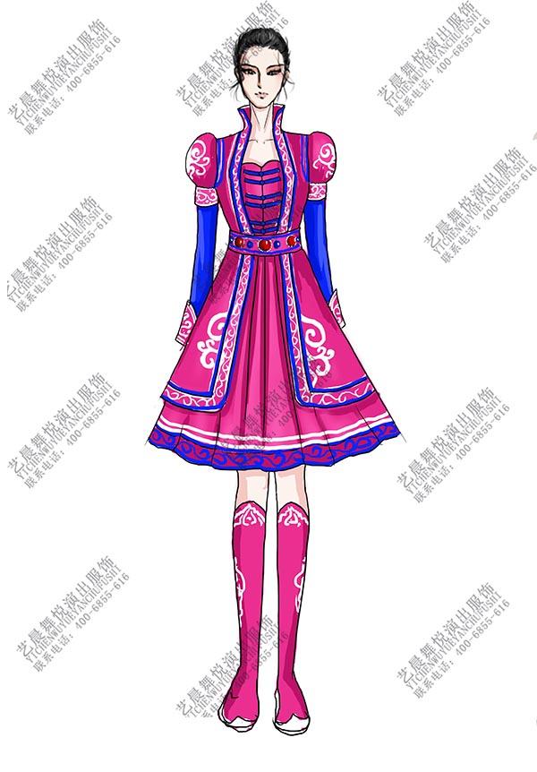 少数民族服装红色蒙古舞服装女蒙古比赛服装定制